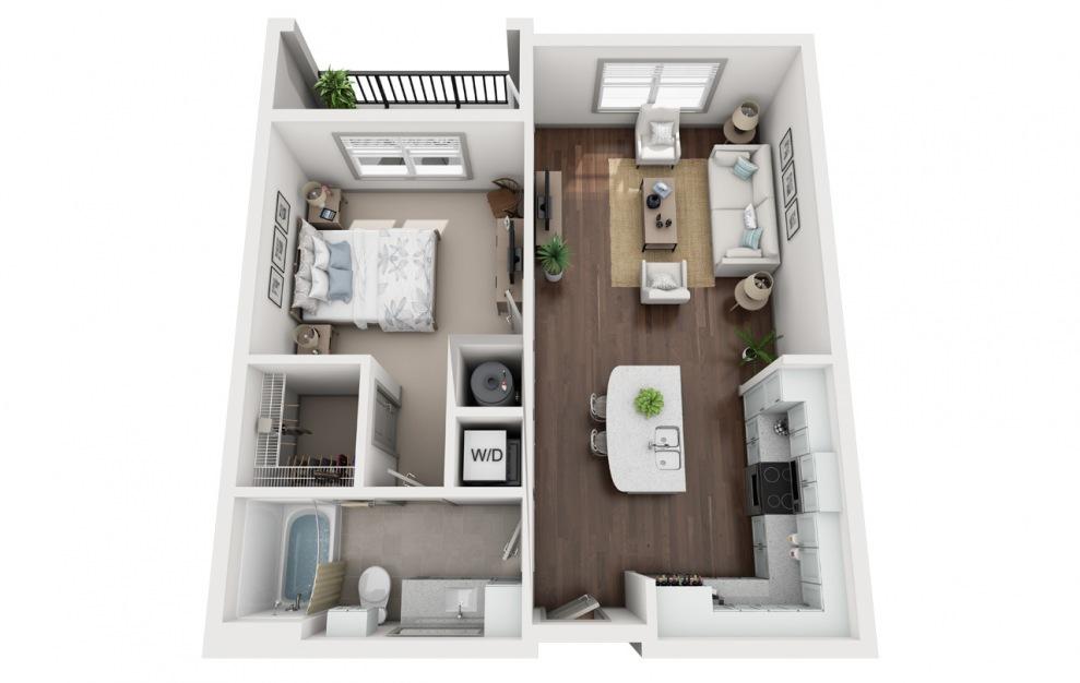 A1 - Plano de 1 dormitorio con 1 baño y 758 pies cuadrados. (3D)