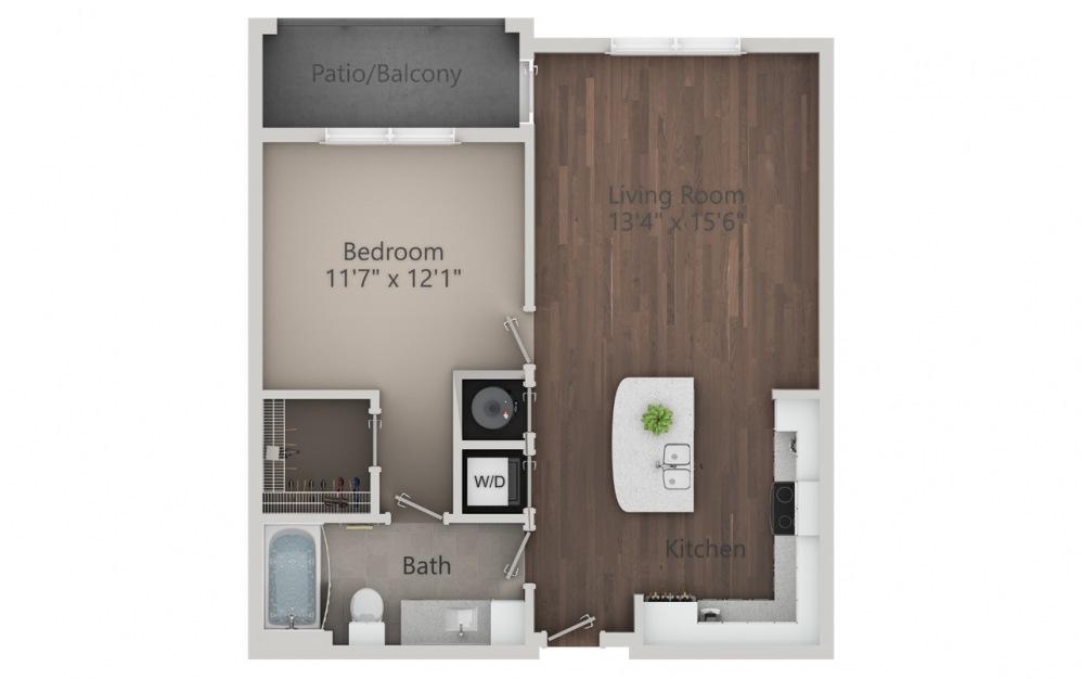 A1 - Plano de 1 dormitorio con 1 baño y 758 pies cuadrados. (2D)
