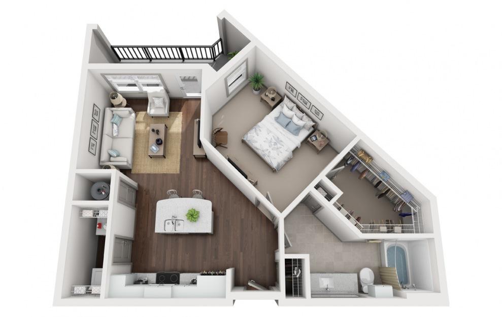 A2 - Plano de 1 dormitorio con 1 baño y 840 pies cuadrados. (3D)