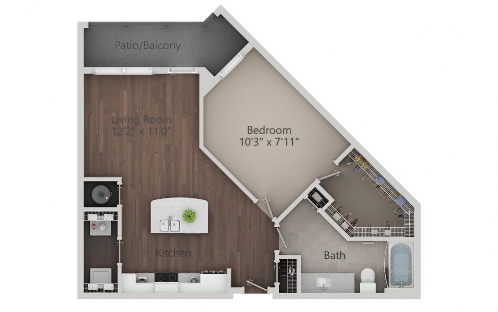 A2 - Plano de 1 dormitorio con 1 baño y 840 pies cuadrados. (2D)