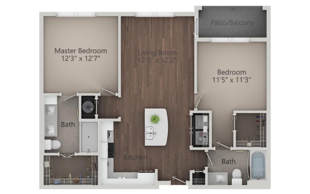 B1 - Plano de 2 dormitorios con 2 baños y 1054 pies cuadrados. (2D)