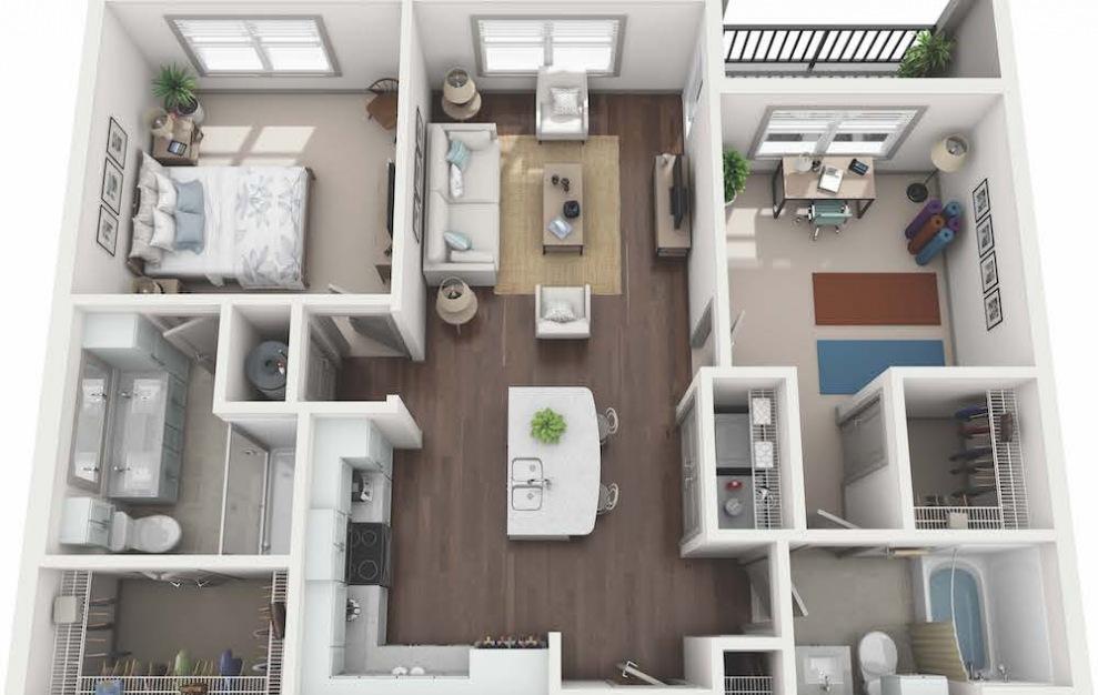 B1 - Diseño de planta de 2 dormitorios con 2 baños y 1054 pies cuadrados. (3D)