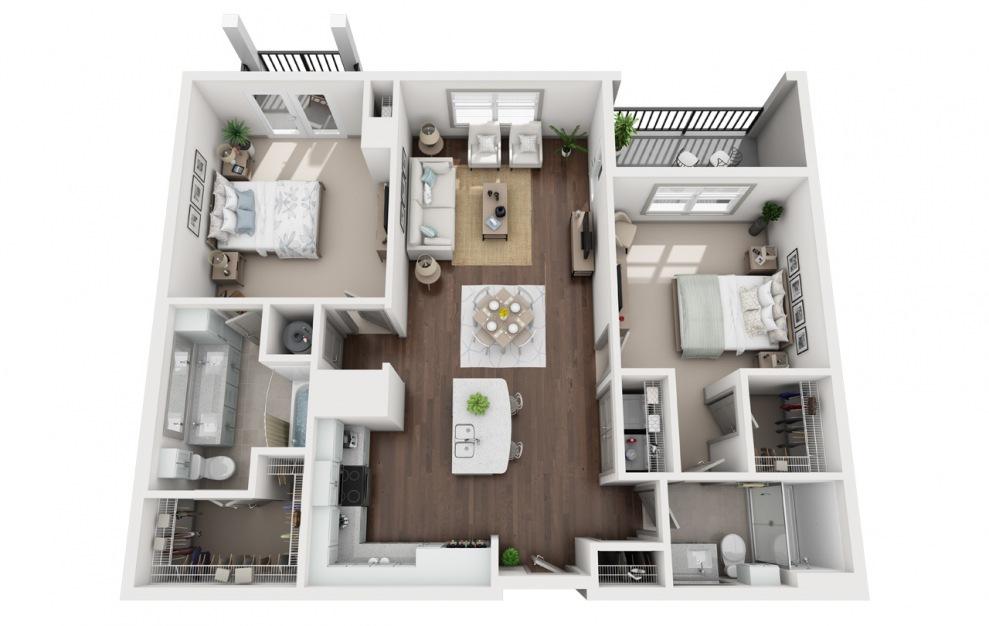 B2 - Diseño de planta de 2 dormitorios con 2 baños y 1286 pies cuadrados. (3D)
