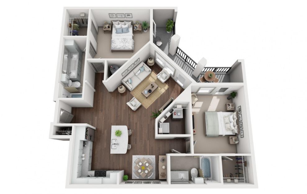 B3 - Diseño de planta de 2 dormitorios con 2 baños y 1364 pies cuadrados. (3D)