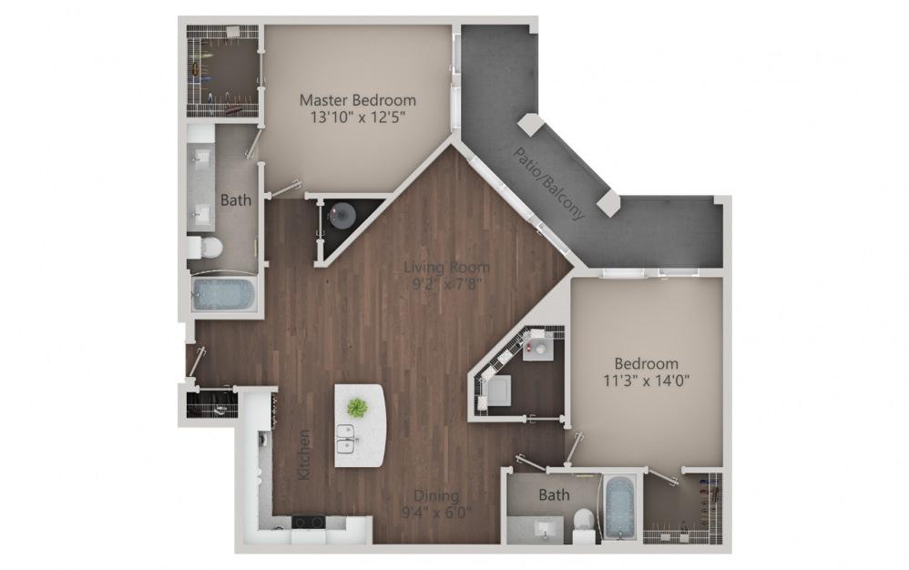B3 - Diseño de planta de 2 dormitorios con 2 baños y 1364 pies cuadrados. (2D)