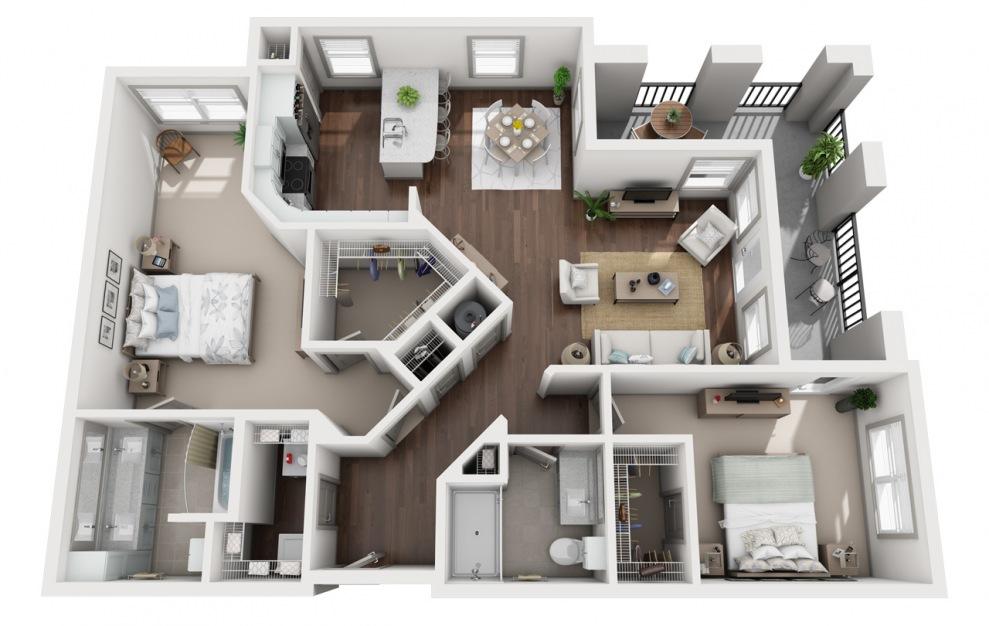 B4 - Diseño de planta de 2 dormitorios con 2 baños y 1432 pies cuadrados. (3D)