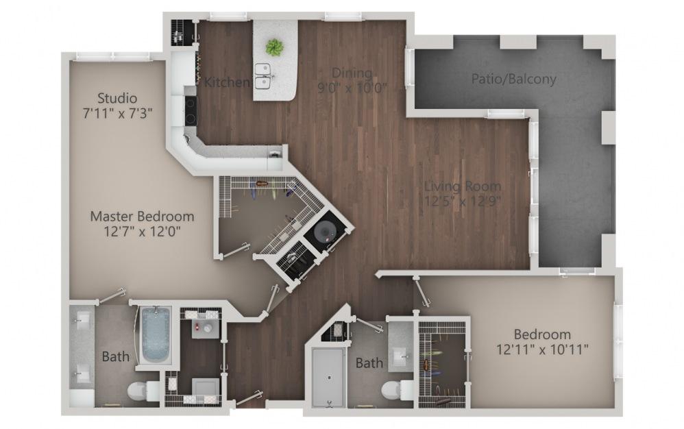 B4 - Diseño de planta de 2 dormitorios con 2 baños y 1432 pies cuadrados. (2D)