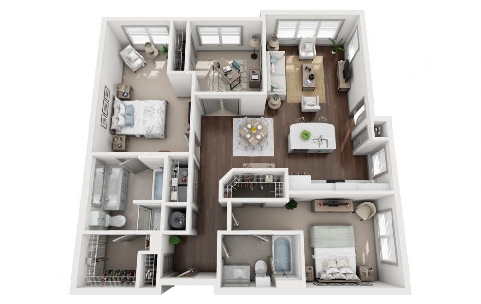 C1 - Diseño de planta de 3 dormitorios con 2 baños y 1366 pies cuadrados. (3D)