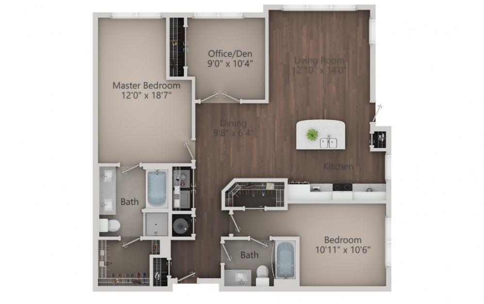 C1 - Diseño de planta de 3 dormitorios con 2 baños y 1366 pies cuadrados. (2D)
