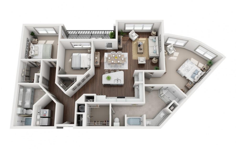 C2 - Diseño de planta de 3 dormitorios con 2 baños y 1666 pies cuadrados. (3D)