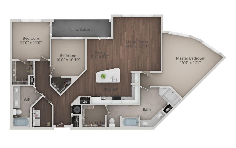 C2 - Diseño de planta de 3 dormitorios con 2 baños y 1666 pies cuadrados. (2D)