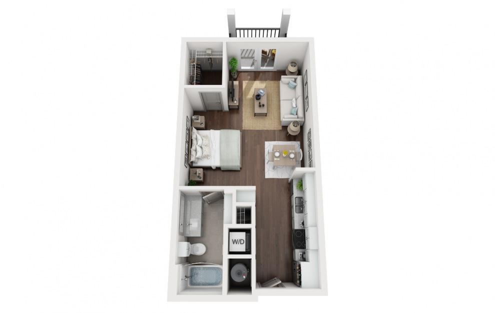 S1 - Plano de estudio con 1 baño y 532 pies cuadrados. (3D)