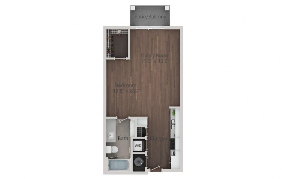 S1 - Plano de estudio con 1 baño y 532 pies cuadrados. (2D)