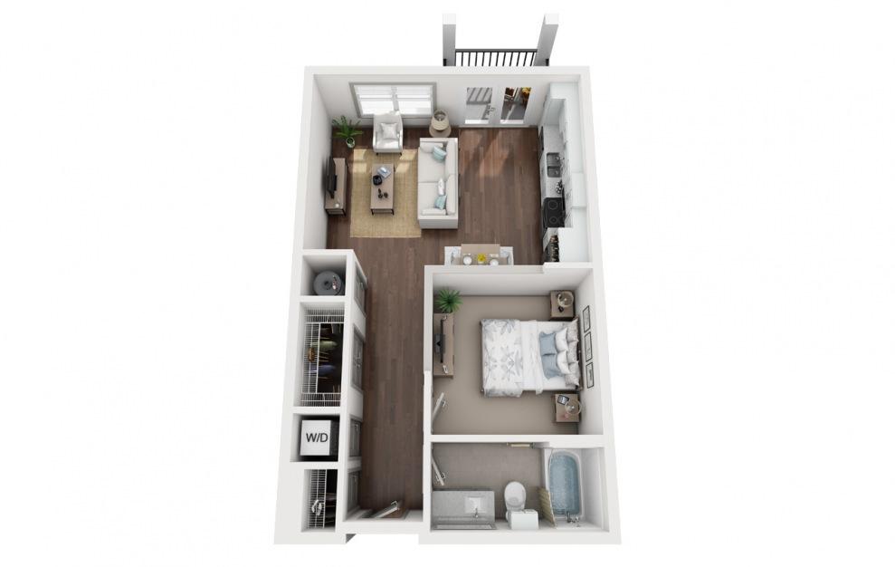 S2 - Plano de estudio con 1 baño y 640 pies cuadrados. (3D)