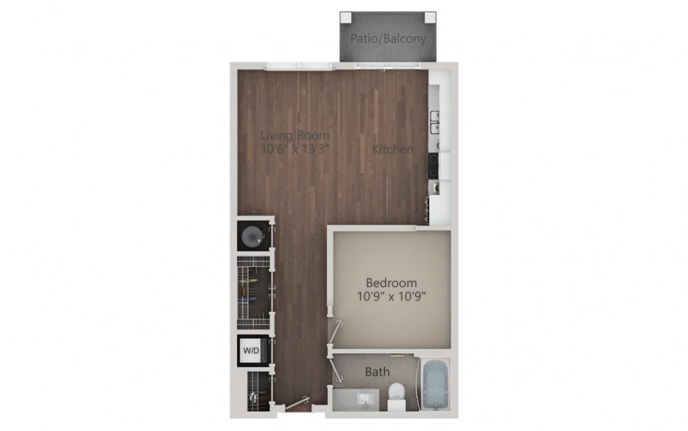 S2 - Plano de estudio con 1 baño y 640 pies cuadrados. (2D)